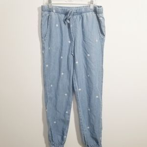Cloth & Stone Chambray Dotted Joggers XS